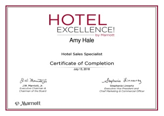 marriott hotel excellence certificate of completion